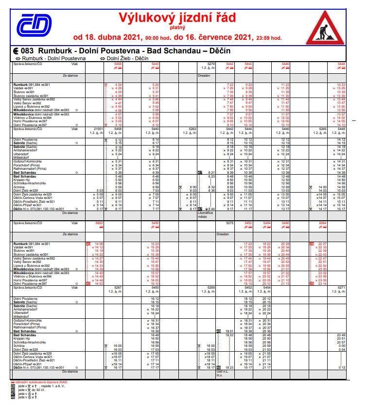 <h2>Dočasný výlukový jízdní řád od 18. 4. 2021</h2>