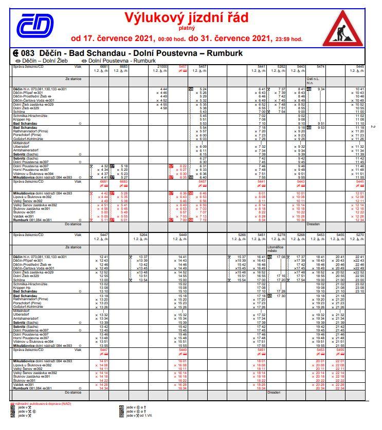 <h2>Dočasný výlukový jízdní řád od 17. 7. 2021</h2>
