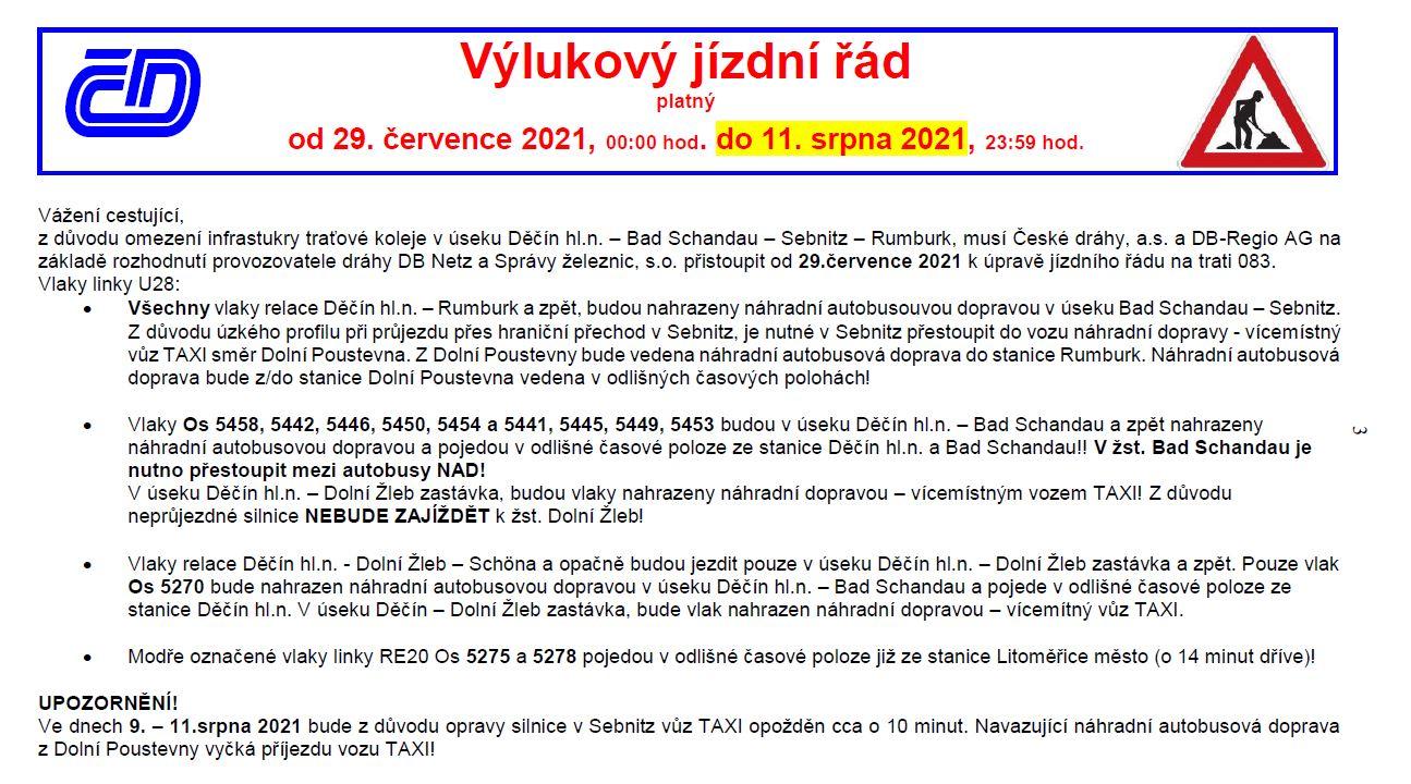 <h2>Dočasný výlukový jízdní řád platí  od 29. 7. 2021 do 11. 8. 2021</h2>
